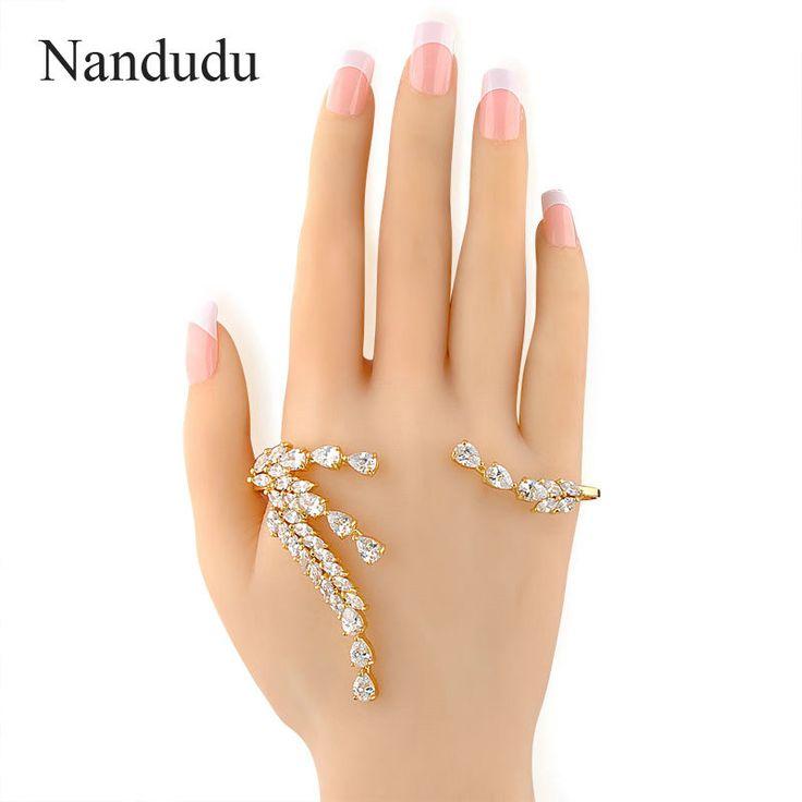 Nandudu Fashion Palm Cuff Zircon Hand Bracelet Leaf Style Palm Bangle Gold Color Wedding Party Luxury Jewelry Gift R216 #Affiliate