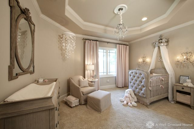Glam and girly princess nursery while still neutral and elegant - love the look!