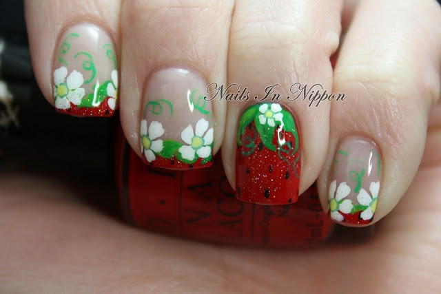 Very Original strawberry nail design!  Nails In Nippon: Summer Strawberries