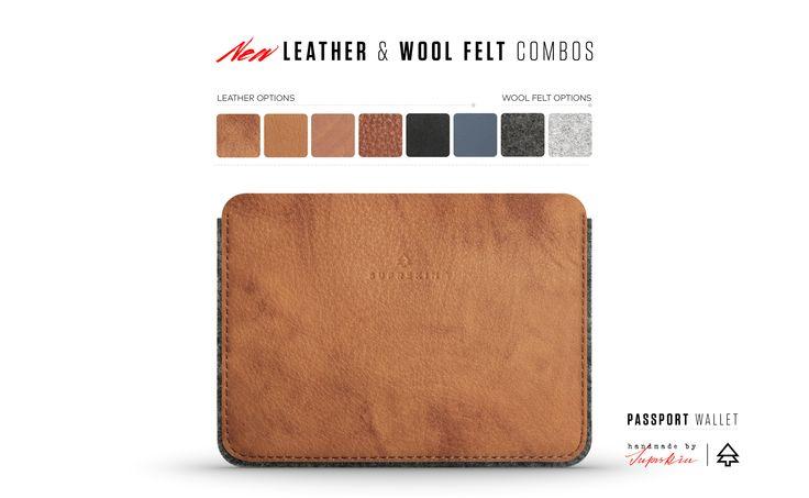 Passport Wallet -    leather & wool felt combos.