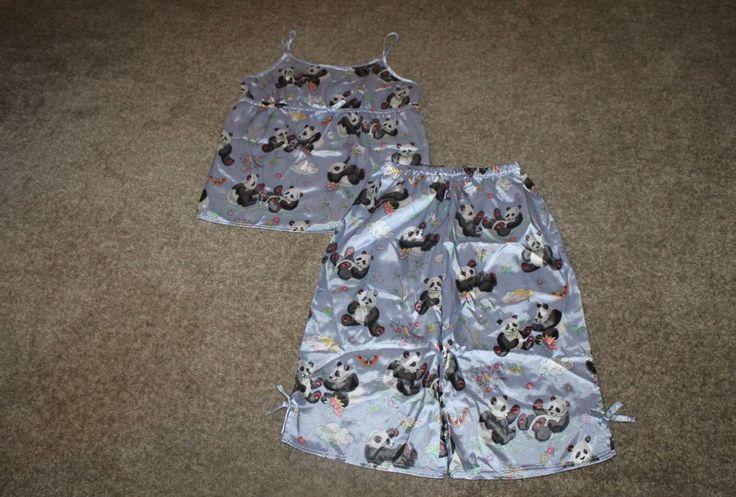 Nick and Nora Girls PJ'S Panda Silky Pajamas Summer Set Top Capri Size XL 14-16 #NickNora #PajamaSet