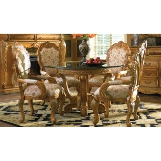 Trevi Latte Finish Round Dining Room Set With Arm Chairs