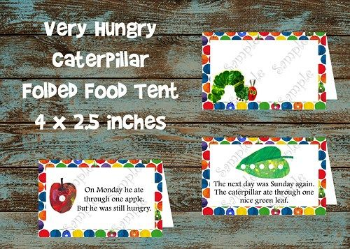 Very Hungry Caterpillar Food Tent tags- Complete with each food he ate | PapelPintadoDesigns - Digital Art on ArtFire