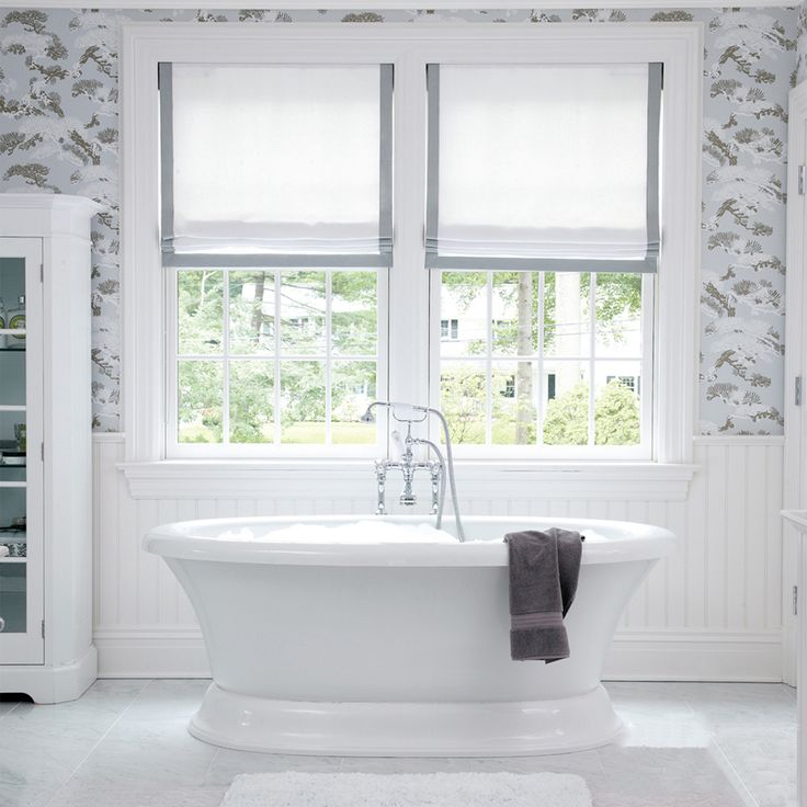 { W A L L P A P E R } An elegant and classic bathroom in grey and white hues designed by the talented @museinteriors - loving the combination of shiplap panelling, designer wallpaper and freestanding bath.  The Roman Blinds with contrast banding are very similar to ones we have created in a recent design project..images to come #bathroominspiration #wallpaper #romanblinds #freestandingbath #bathroom ideas #frenchdressing #french_dressing_furniture