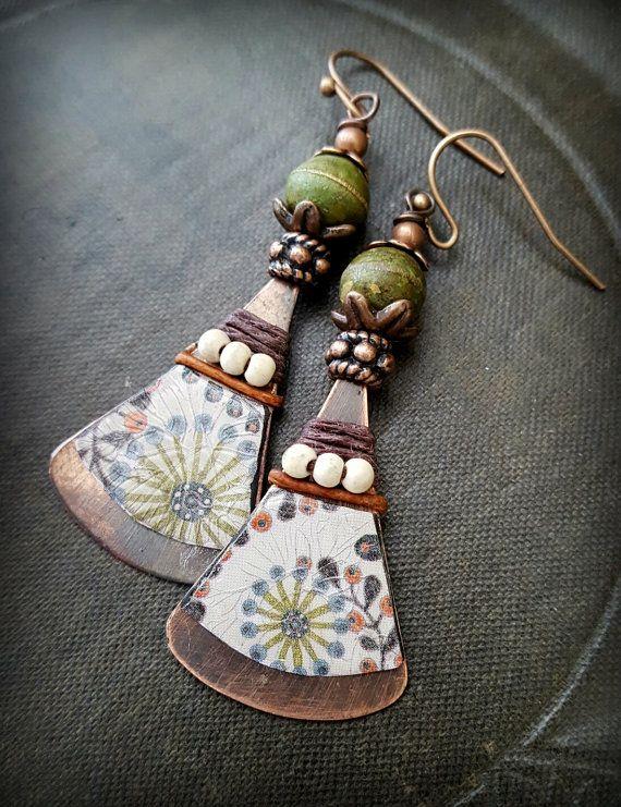 Tin earrings Copper Earrings Flower Earrings Artisan by YuccaBloom