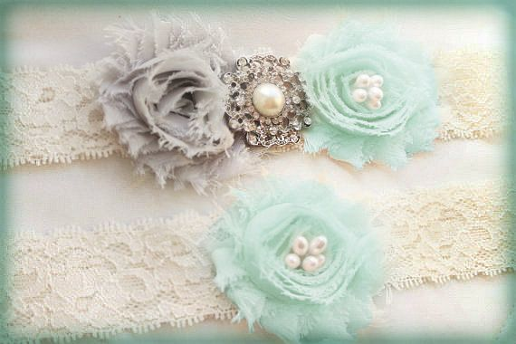 Something Blue Garter Set 35+ COLORS AVAILABLE Grey & Tiffany Blue Wedding Garters Ivory Lace Gray Flowers Garter Pearl or Rhinestone Bling