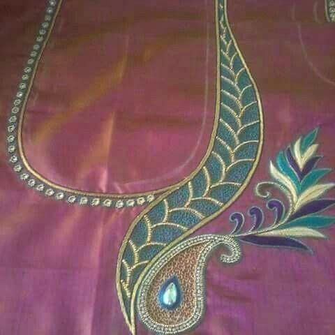 One side work on blouse back neck http://mytailor.in/