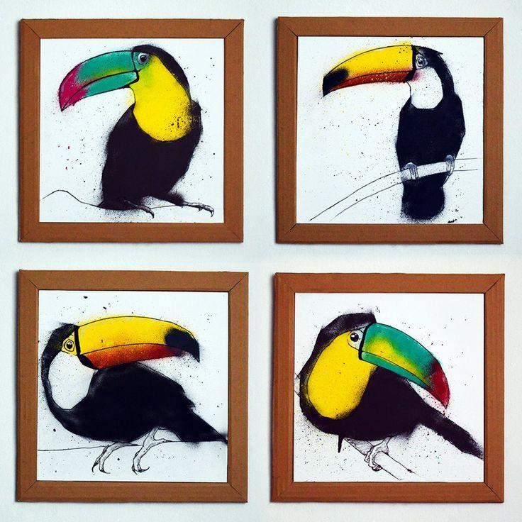 """Serie """"Cuatro tucanes"""" Dibujo a lápiz, entintado a pluma y pintado con aerosoles sobre cartulina blanca, enmarcada con cartón. 35cmX35cm."""