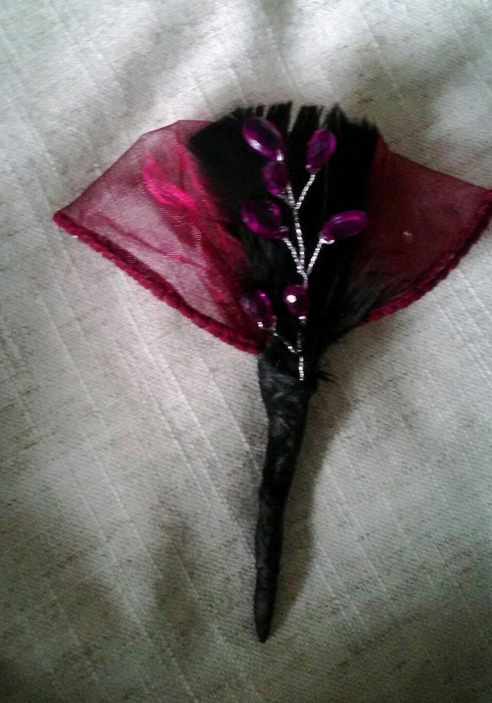 NEW x 1 BLACK FEATHER/DEEP RED ORGANZA/CRYSTAL BUTTONHOLE..WEDDING GUEST.OCCASIO | Home, Furniture & DIY, Wedding Supplies, Flowers, Petals & Garlands | eBay!