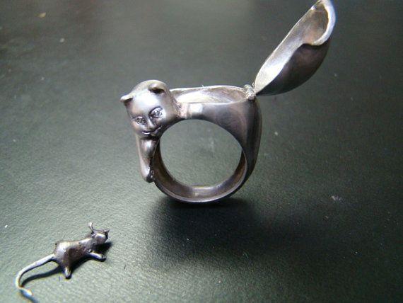 Gatto veleno anello in argento e diamante occhi con il di Xidni