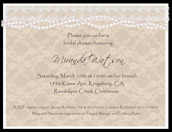 Custom Lace And Pearl Bridal Shower Invitation By Joyinvitations, $48.00