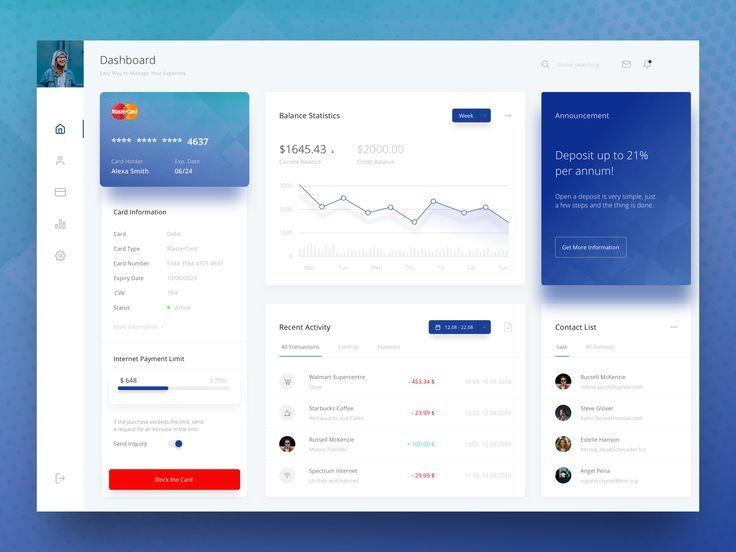Web Banking Dashboard In 2020 Web Banking Web Design Web App Design