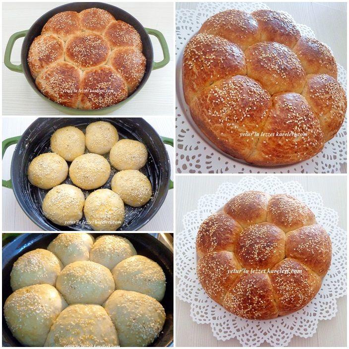 döküm tencerede bu kez çiçek ekmek pişirdim.nefis bir ekmek oldu..isterseniz hamburger ekmeği veya tost ekmeği olarakta kullanabilirsin...