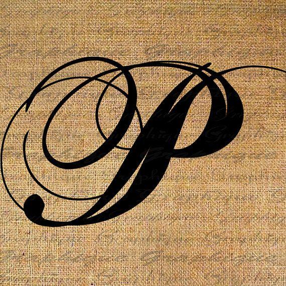 Monogram Initial Letter  P Digital Collage Sheet Burlap Digital Download Calligraphy to Transfer 2 Burlap Pillow Tote Tea Towels No. 2089P