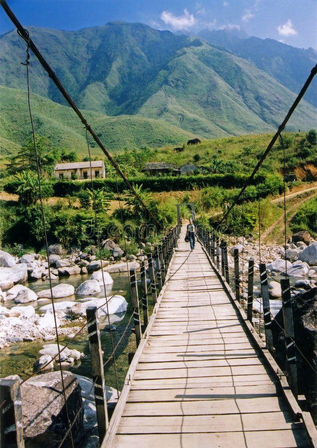 Sapa Bridge Mountains Northern Vietnam Rickety Bridge In Mountainous Landscape Sponsored Mountains Northern Vietnam Travel Vietnam Honeymoon Vietnam