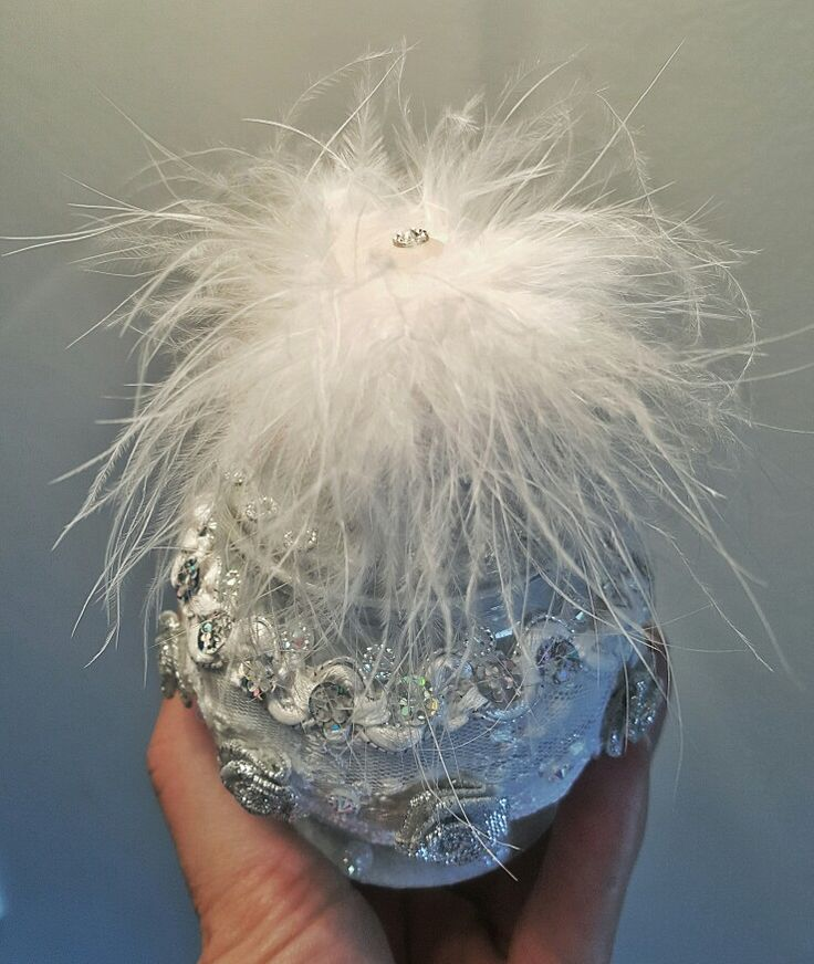 Feathered, feminine dressing table container. Hand made by White Feather Designs