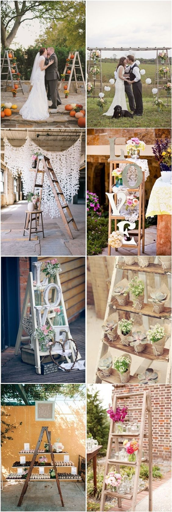 vintage rustic country wedding decor ideas- ladder wedding ideas / http://www.deerpearlflowers.com/40-chic-ways-to-use-ladder-in-rustic-country-weddings/