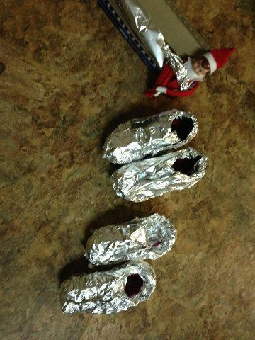 Elf wraps shoes in tinfoil on a school day (courtesy of Allison's elf)