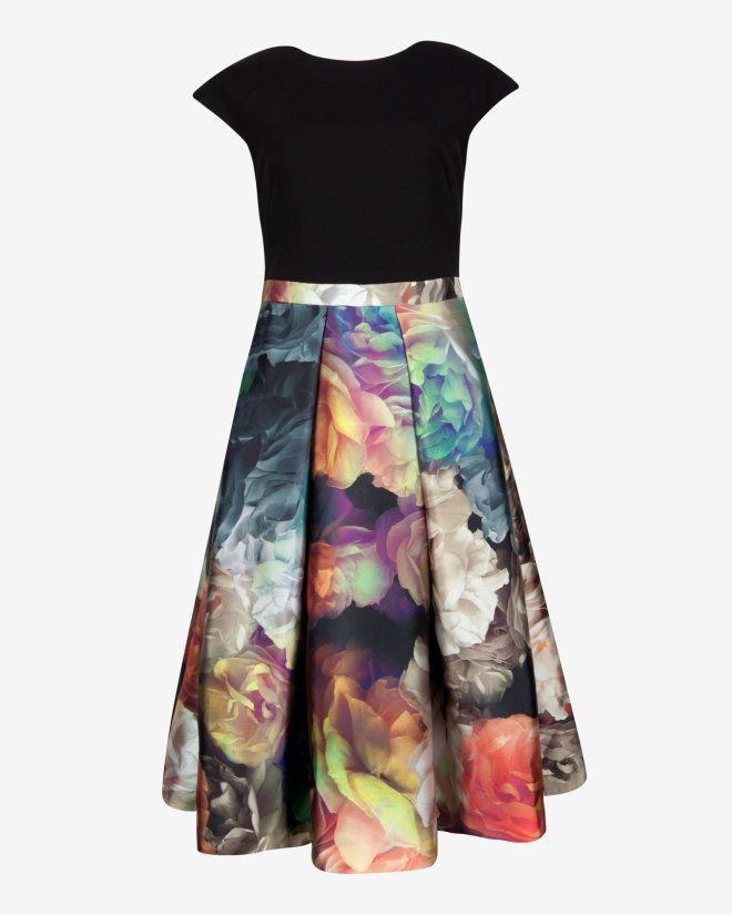 Technicolour Bloom skirt dress - Black | Dresses | Ted Baker