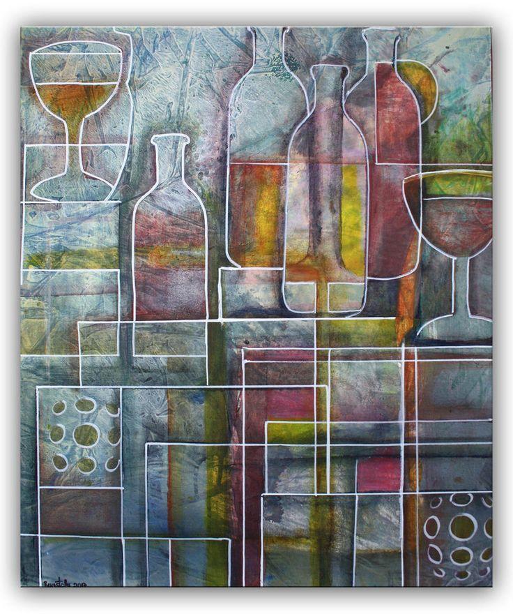 BURGSTALLER Flasche Glaeser abstrakt Bild handgemalt Keilrahmen rot Kunst 50x60