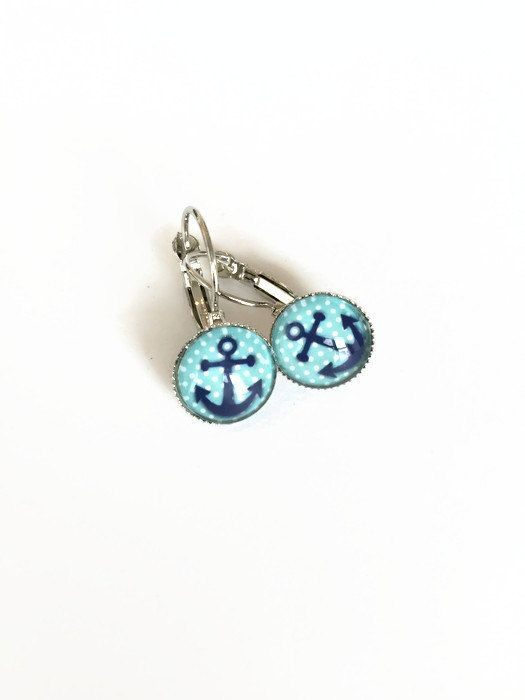 Blue Anchor Earrings Polka Dot Nautical Anchor Earrings Sailor Inspired Earrings Light Blue Aqua Navy Cabochon Ear Wire Earrings (E51) by JulemiJewelry on Etsy