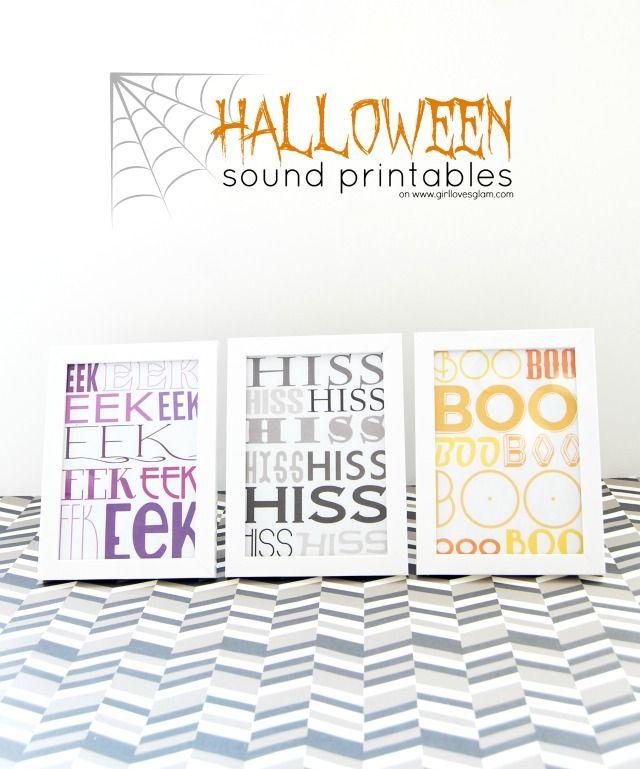Halloween Sounds Free Printable on www.girllovesglam.com #halloween #decor #print