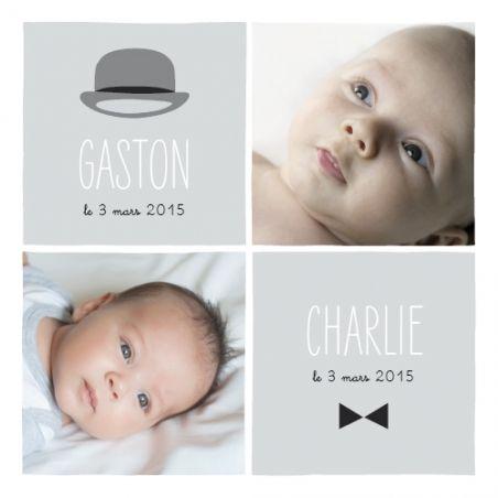 faire part naissance Jumeaux Dandys by Marion Bizet pour www.fairepartnaissance.fr : demandez vos échantillons gratuits de nos créations pour la naissance, le baptême ou les anniversaires de vos enfants. #rosemood #twins