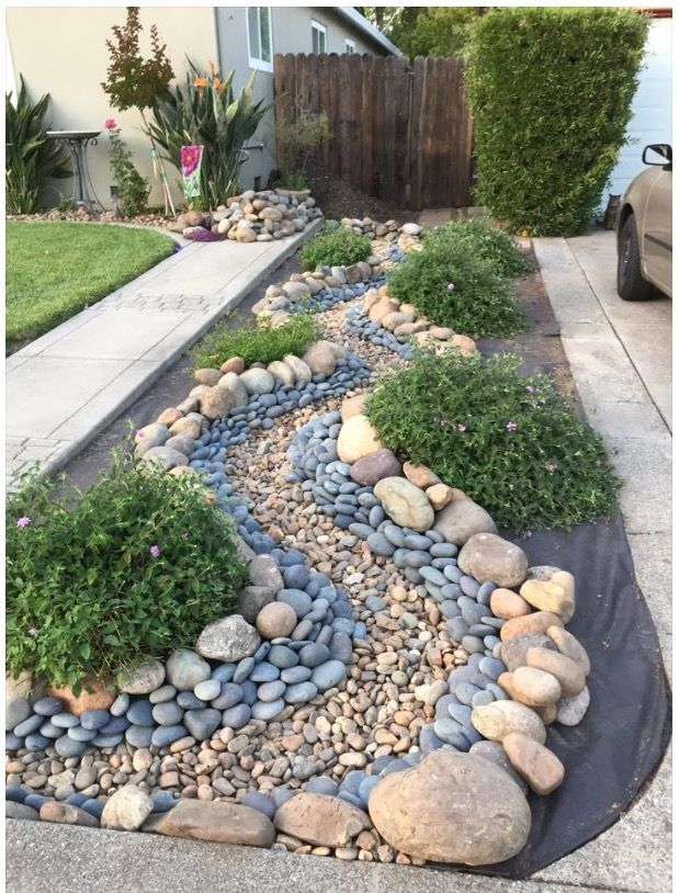 Dry river bed idea from a downspout to a rain gard…