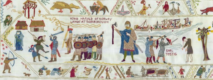 Fulford Contemporary Tapestry Project to record the events of Sept 1066. A project worth a look and catching up with the  completed, the modern tapestry was completed in 2012. The project was completed with assistance of the Heritage Lottery Fund.