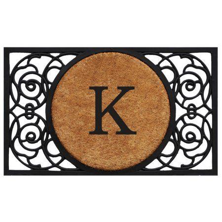 Armada Circle Monogram Doormat (Letter K), Black