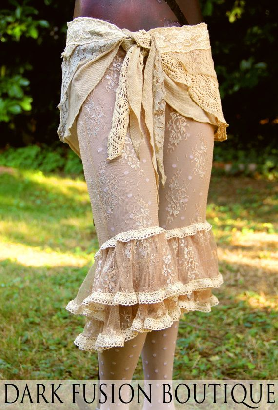 Capris, Cream Lace, Sepia, Bloomers, Steam Punk, Tribal, Circus, Dance, Bellydance, Fearie, Summer, Dark Fusion Boutique