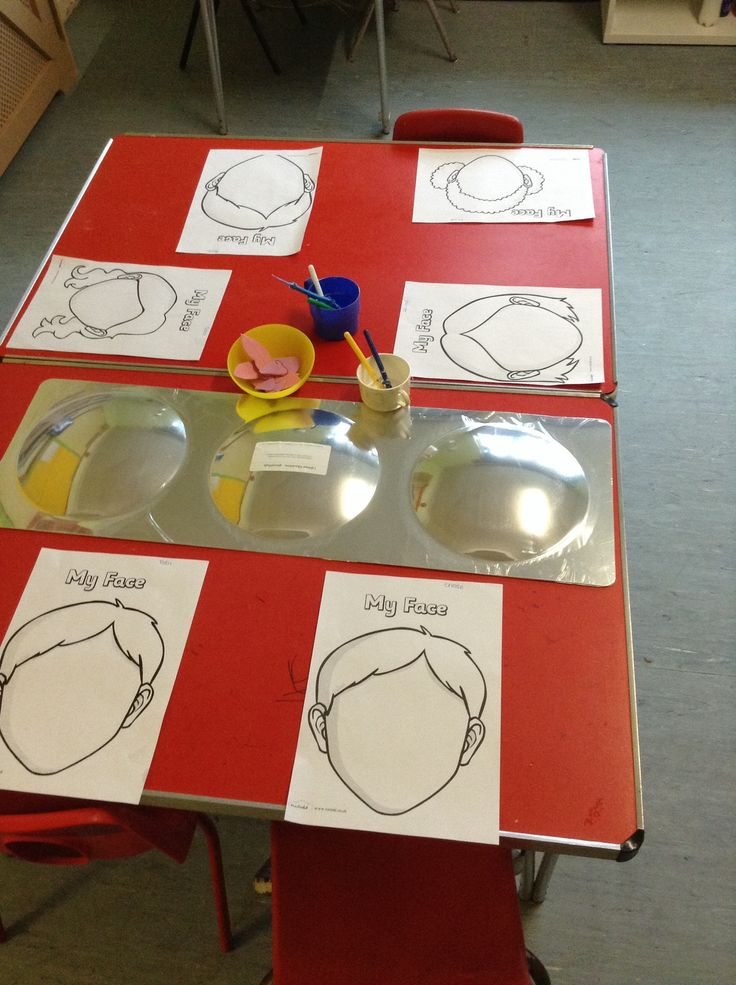 "For our theme of ""All About Me"" the Woodlands class looking in a mirror and tried to draw their own faces. We also cut up dome parts of the body (nose, mouth, eyes) for the children to glue #eyfs #themes #activity"
