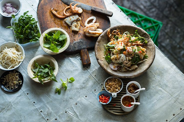 The grilled squid in this dish is light, textural and smoky, tossed with fresh lemongrass and bound in a sweet and spicy dressing. The salty/sour/spicy/sweet notes are in perfect balance.