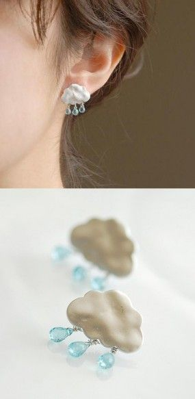 Who would have thought....miniature cloud earring with dangling beads recognized as rain(: