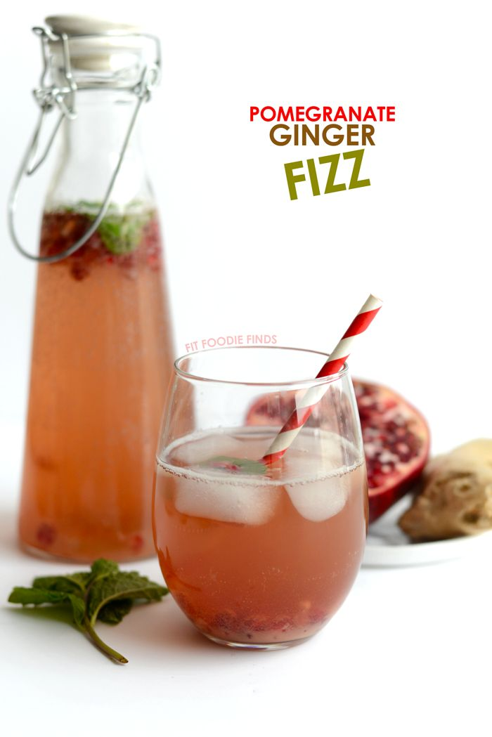 Homemade Sparkling Water Recipe - Pomegranate Ginger Fizz (naturally sweetened, no artificial flavors!)