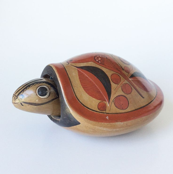 Vintage Tonala Mexican Pottery Bobble Head Turtle, Hand