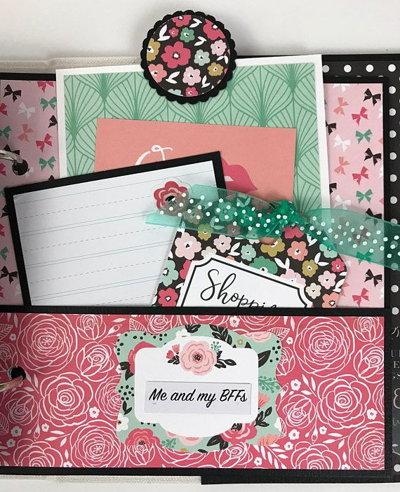 Friends Mini Album Kit or Premade Scrapbook Album Gift Friendship All Occasion Shopping Girls Fashion Bachelorette Sorority BFF Besties Mom This album is available as a DIY kit or pre-made and will make a fun way to save memories of you and your girl friends! And what a fantastic gift