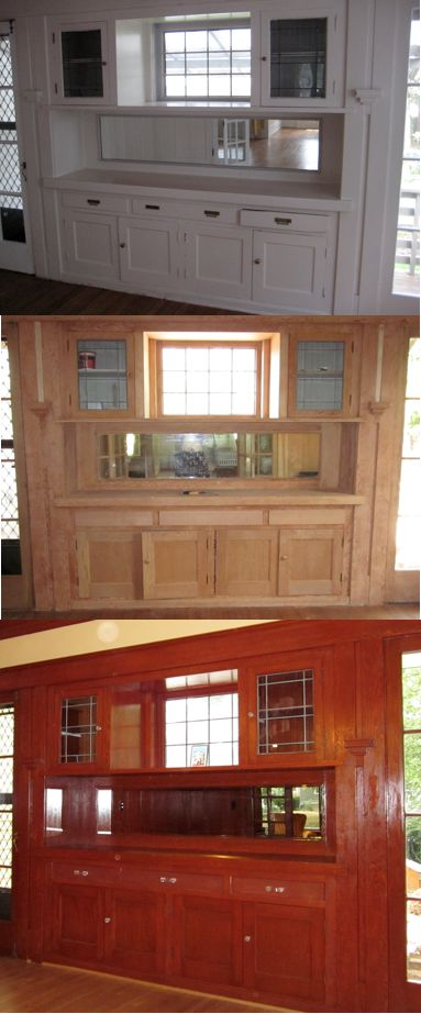 Craftsman Dining Room. Paint was stripped and built-ins were stained.
