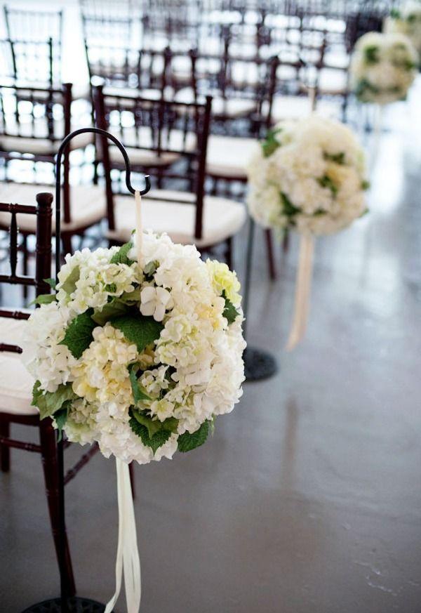 Hydrangea pom-pom aisle decor