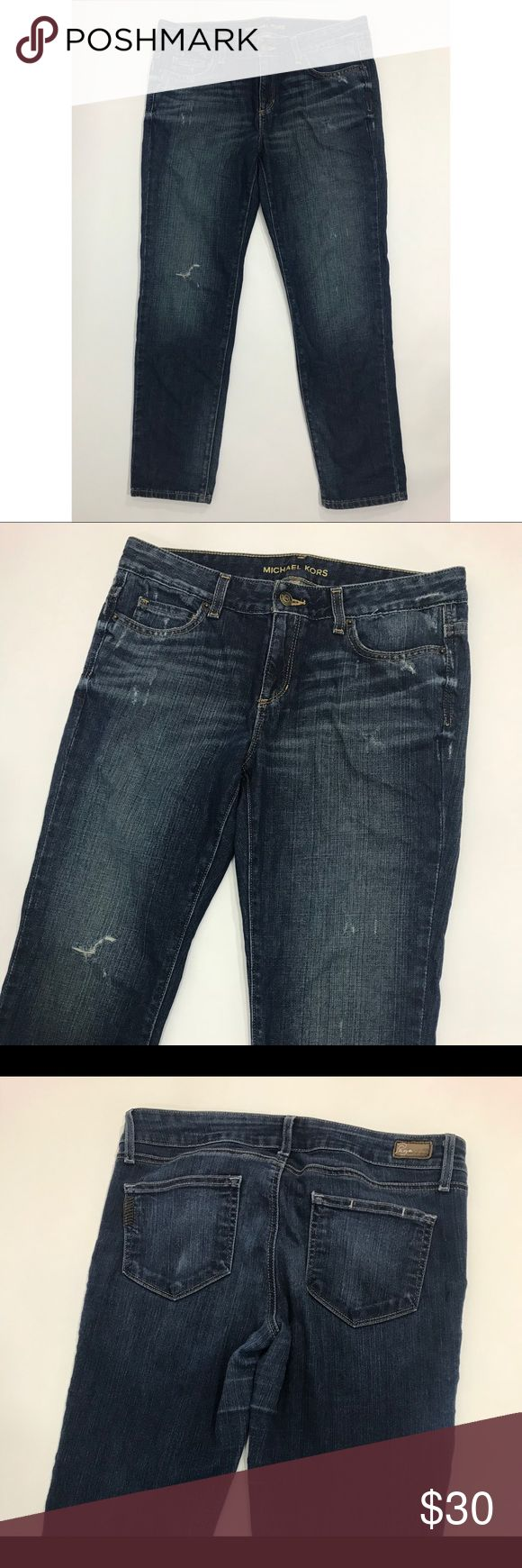 Michael Kors Jeans 4 Blue Distressed Boyfriend Fit Michael Kors Womens Jeans Size 4 Dark Blue Denim Distressed Boyfriend Fit. Measurements: (in inches) - Waist: 32 - Length: 35 -Inseam: 26 Michael Kors Jeans Boyfriend