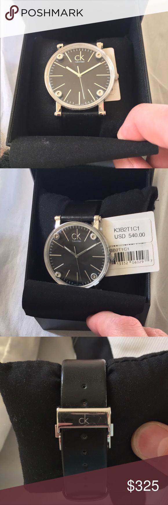 Black Calvin Klein leather Swiss made Watch Black lockable adjustable leather Swiss made Calvin Klein watch Calvin Klein Collection Accessories Watches
