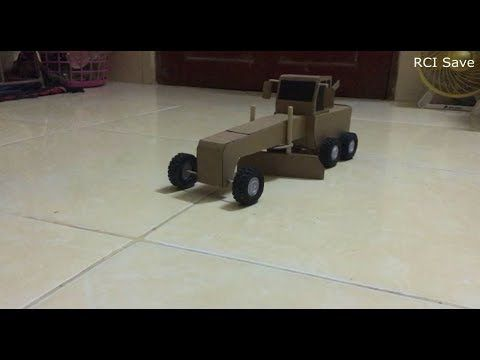 RC Homemade | RC Construction Heavy truck How to make a motor grader from Cardboard - YouTube