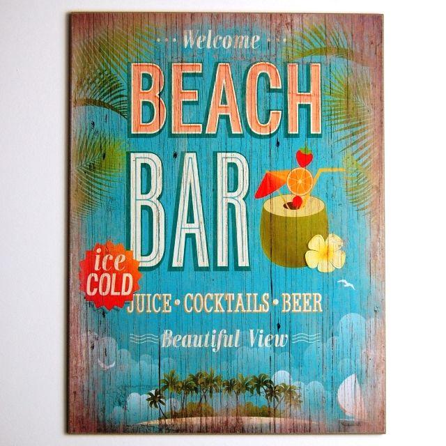 Home Bar Wall Ideas: Retro Seaside Holiday Beach Bar Hanging Sign