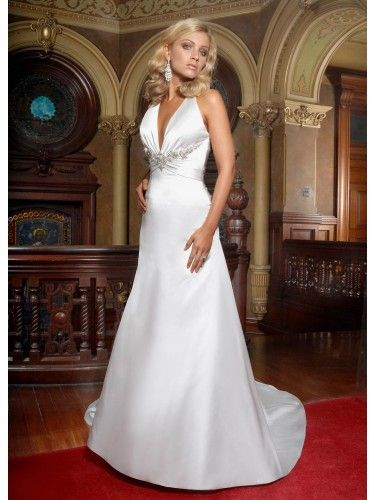 Satin Halter V Neck Delicately Gathered Bodice A Line Wedding Dress