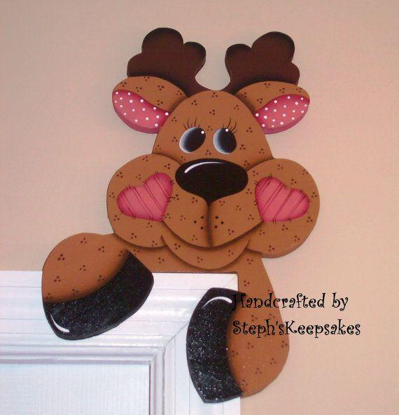 Hand painted Reindeer Door Hanger by stephskeepsakes on Etsy, $17.95
