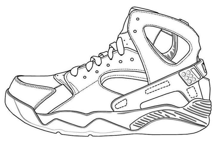 Air Jordan Shoes Coloring Pages to Learn Drawing Outlines ...