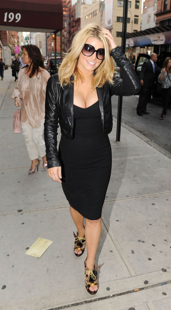 Love the dress and leather jacket combination