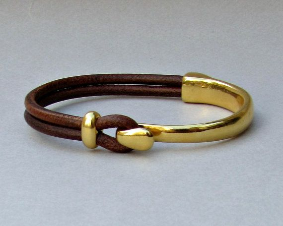 Gold Unisex Leather BraceletCuff Black Brown Leather by GUSFREE