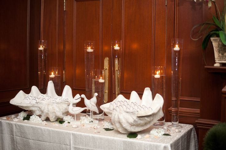 Caribbean Rehearsal Dinner Theme: Giant Clam Shells Filled W/ Sand To Hold