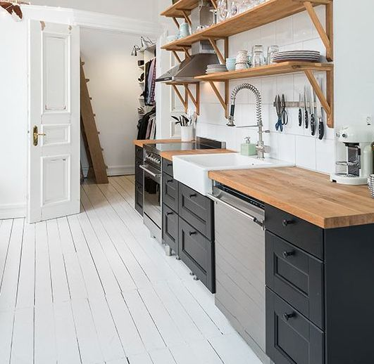 Ikea black Laxarby kitchen